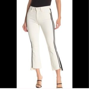 MOTHER white jeans with black stripes
